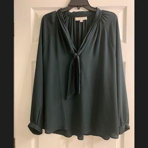 Loft Long Sleeve Dark Green Tie Front Top XL